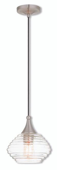 LIVEX Lighting 40610-91 Contemporary Mini Pendant in Brushed Nickel (1 Light)