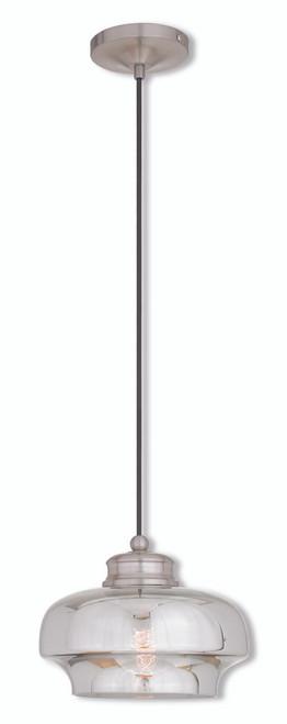 LIVEX Lighting 40607-91 Contemporary Mini Pendant in Brushed Nickel (1 Light)