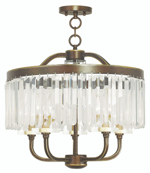 LIVEX Lighting 50545-64 Ashton Convertible Chandelier/Flushmount with Hand-Painted Palacial Bronze (5 Light)