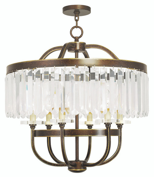 LIVEX Lighting 50546-64 Ashton Chandelier with Hand-Painted Palacial Bronze (6 Light)