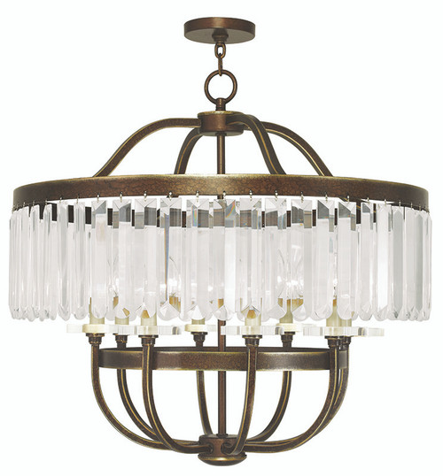 LIVEX Lighting 50548-64 Ashton Chandelier with Hand-Painted Palacial Bronze (8 Light)