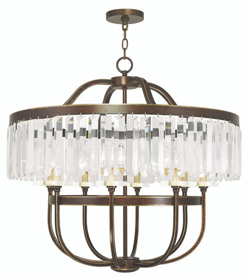 LIVEX Lighting 50549-64 Ashton Chandelier with Hand-Painted Palacial Bronze (8 Light)