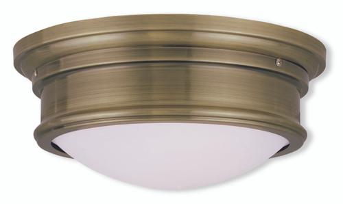 LIVEX Lighting 7342-01 Astor Flushmount in Antique Brass (2 Light)