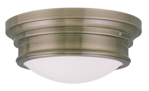 LIVEX Lighting 7343-01 Astor Flushmount in Antique Brass (3 Light)