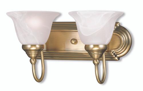 LIVEX Lighting 1002-01 Belmont Bath Light in Antique Brass (2 Light)