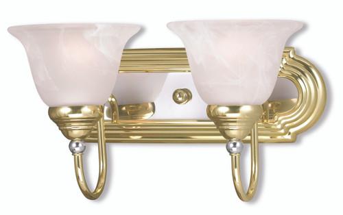 LIVEX Lighting 1002-25 Belmont Bath Light in Polished Brass & Polished Chrome (2 Light)