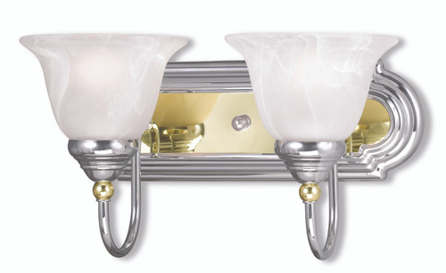 LIVEX Lighting 1002-52 Belmont Bath Light in Polished Chrome & Polished Brass (2 Light)
