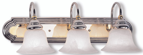 LIVEX Lighting 1003-52 Belmont Bath Light in Polished Chrome & Polished Brass (3 Light)