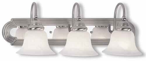 LIVEX Lighting 1003-95 Belmont Bath Light in Brushed Nickel Finish with Polished Chrome Finish Insert (3 Light)