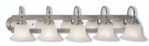 LIVEX Lighting 1005-95 Belmont Bath Light in Brushed Nickel Finish with Polished Chrome Finish Insert (5 Light)