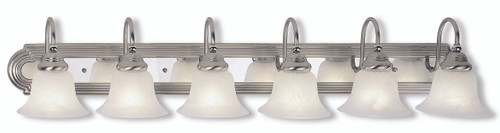 LIVEX Lighting 1006-95 Belmont Bath Light in Brushed Nickel & Polished Chrome (6 Light)