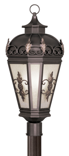 LIVEX Lighting 2197-07 Berkshire Outdoor Post Lantern in Bronze (3 Light)