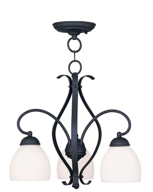 LIVEX Lighting 4773-04 Brookside Convertible Chain Hung/Flushmount in Black (3 Light)