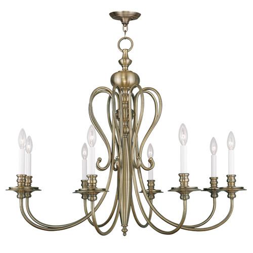 LIVEX Lighting 5168-01 Caldwell Chandelier in Antique Brass (8 Light)