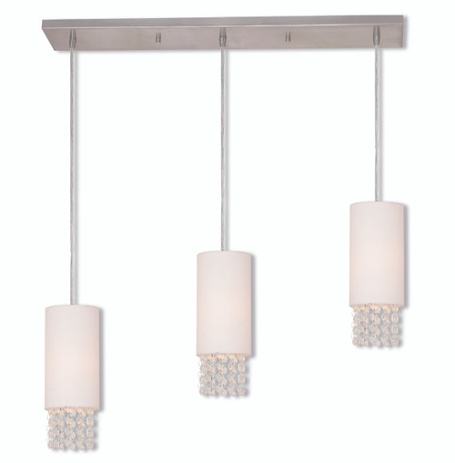 LIVEX Lighting 51023-91 Carlisle Contemporary Linear Chandelier in Brushed Nickel (3 Light)
