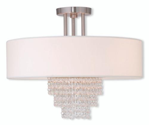 LIVEX Lighting 51028-91 Carlisle Contemporary Flushmount in Brushed Nickel (4 Light)