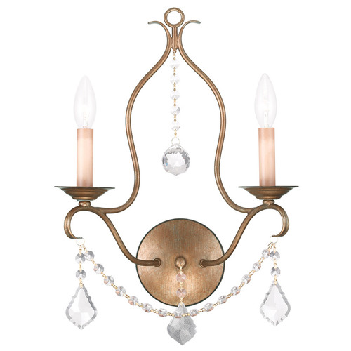 LIVEX Lighting 6422-48 Chesterfield Wall Sconce in Antique Gold Leaf (2 Light)