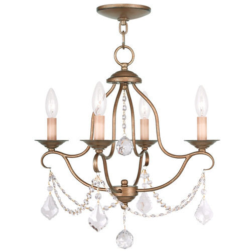 LIVEX Lighting 6424-48 Chesterfield Mini Chandelier in Antique Gold Leaf (4 Light)