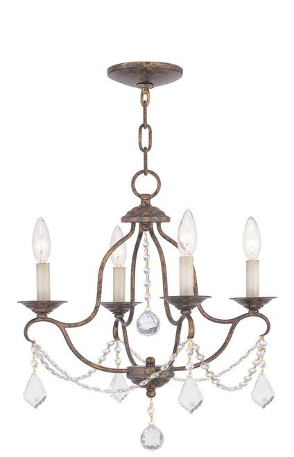 LIVEX Lighting 6424-71 Chesterfield Mini Chandelier with Hand-Applied Venetian Golden Bronze (4 Light)