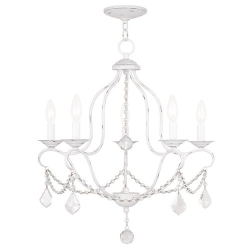 LIVEX Lighting 6435-60 Chesterfield Chandelier in Antique White (5 Light)