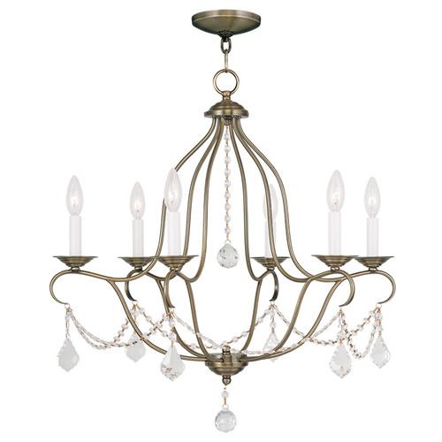 LIVEX Lighting 6426-01 Chesterfield Chandelier in Antique Brass (6 Light)