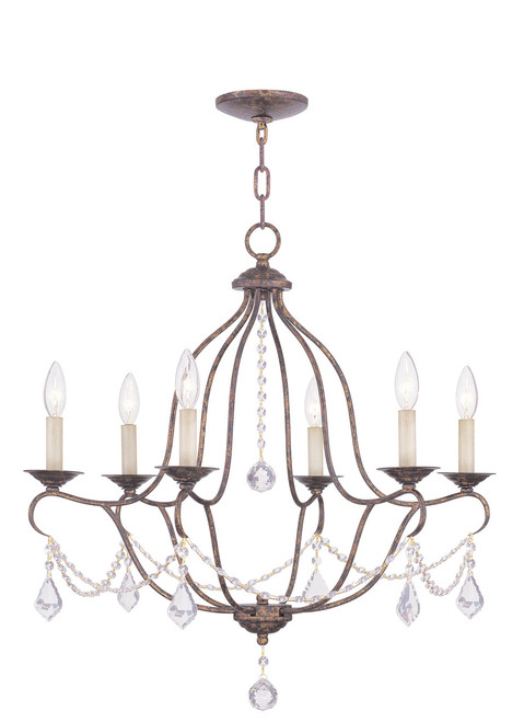 LIVEX Lighting 6426-71 Chesterfield Chandelier with Hand-Applied Venetian Golden Bronze (6 Light)
