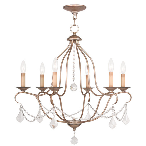 LIVEX Lighting 6426-73 Chesterfield Chandelier with Hand-Painted Antique Silver Leaves (6 Light)