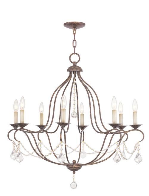 LIVEX Lighting 6428-71 Chesterfield Chandelier with Hand-Applied Venetian Golden Bronze (8 Light)