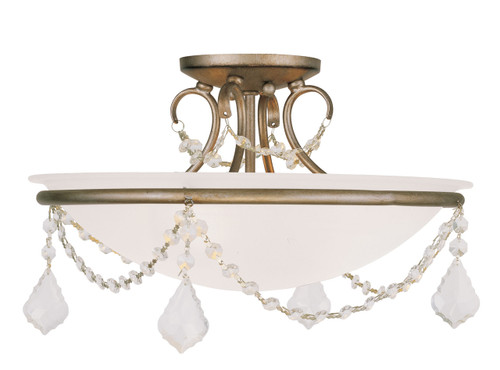 LIVEX Lighting 6524-73 Chesterfield Pennington Flushmount with Hand-Painted Antique Silver Leaves (3 Light)