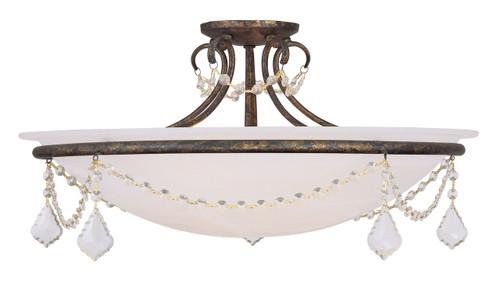 LIVEX Lighting 6526-71 Chesterfield Pennington Flushmount with Hand-Applied Venetian Golden Bronze (4 Light)