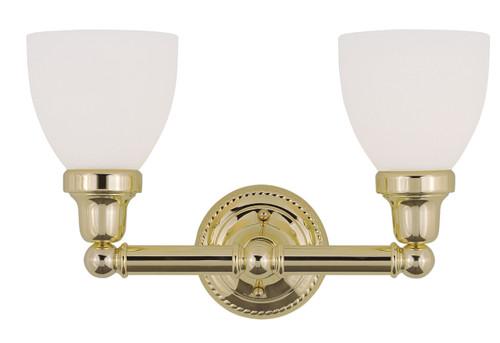 LIVEX Lighting 1022-02 Classic Bath Light in Polished Brass (2 Light)