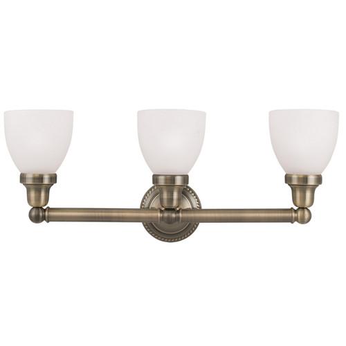 LIVEX Lighting 1023-01 Classic Bath Light in Antique Brass (3 Light)