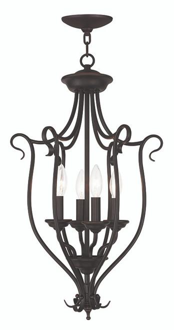 LIVEX Lighting 6137-07 Coronado Foyer Chandelier in Bronze (4 Light)