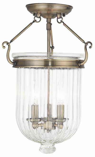 LIVEX Lighting 50516-01 Coventry Flushmount in Antique Brass (3 Light)