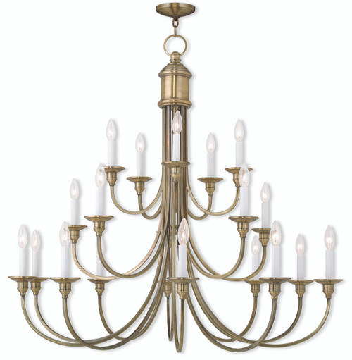 LIVEX Lighting 5140-01 Cranford Foyer Chandelier in Antique Brass (20 Light)
