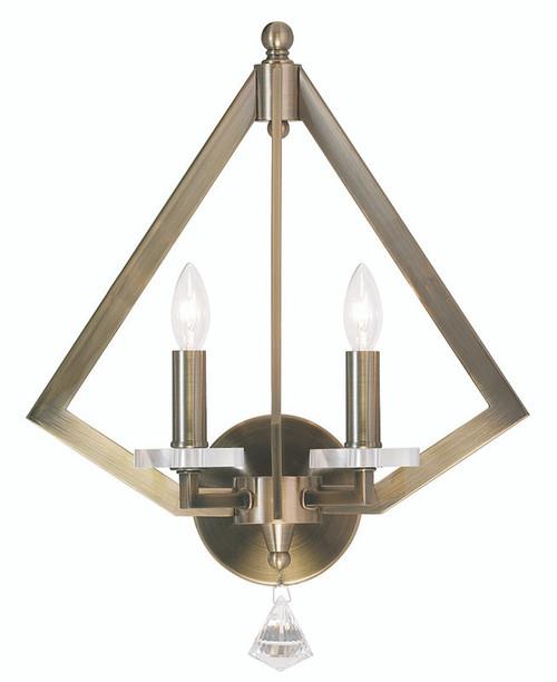 LIVEX Lighting 50662-01 Diamond Wall Sconce in Antique Brass (2 Light)