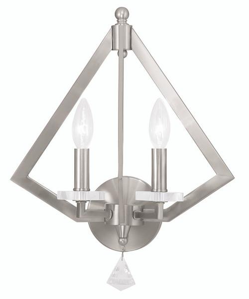 LIVEX Lighting 50662-91 Diamond Wall Sconce in Brushed Nickel (2 Light)