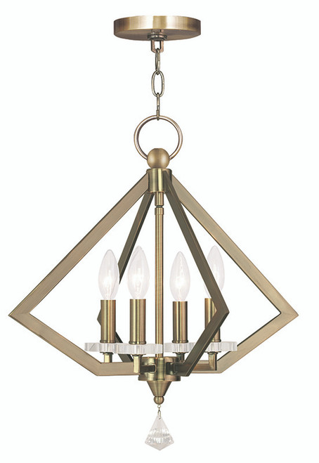 LIVEX Lighting 50664-01 Diamond Chandelier in Antique Brass (4 Light)