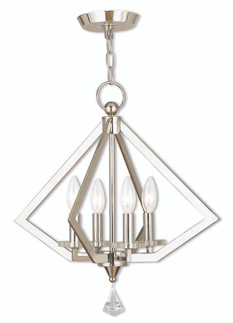 LIVEX Lighting 50664-35 Diamond Mini Chandelier in Polished Nickel (4 Light)