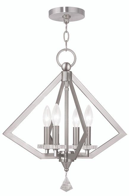 LIVEX Lighting 50664-91 Diamond Chandelier in Brushed Nickel (4 Light)