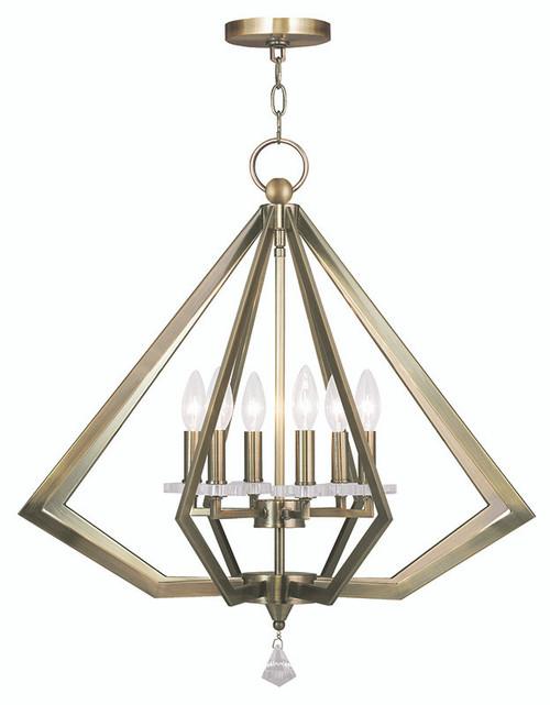 LIVEX Lighting 50666-01 Diamond Chandelier in Antique Brass (6 Light)