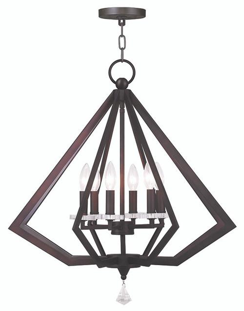 LIVEX Lighting 50666-07 Diamond Chandelier in Bronze (6 Light)