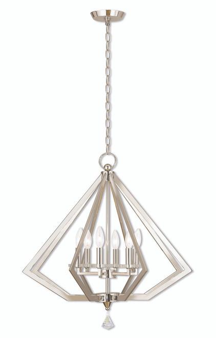 LIVEX Lighting 50666-35 Diamond Chandelier in Polished Nickel (6 Light)
