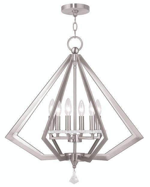 LIVEX Lighting 50666-91 Diamond Chandelier in Brushed Nickel (6 Light)
