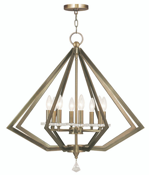 LIVEX Lighting 50668-01 Diamond Chandelier in Antique Brass (8 Light)