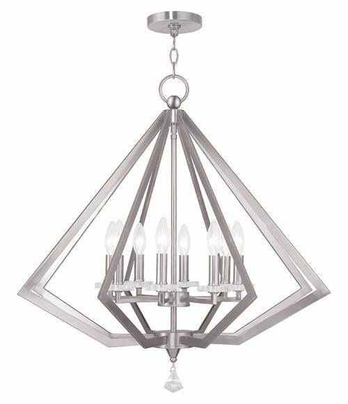 LIVEX Lighting 50668-91 Diamond Chandelier in Brushed Nickel (8 Light)