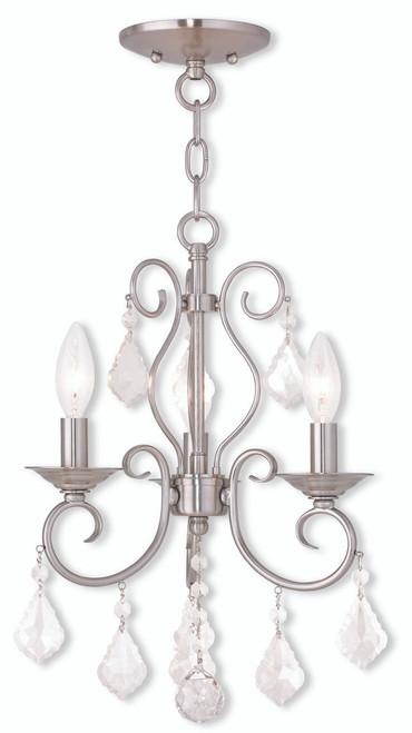 LIVEX Lighting 50763-91 Donatella Convertible Mini Chandelier/Flushmount in Brushed Nickel (3 Light)