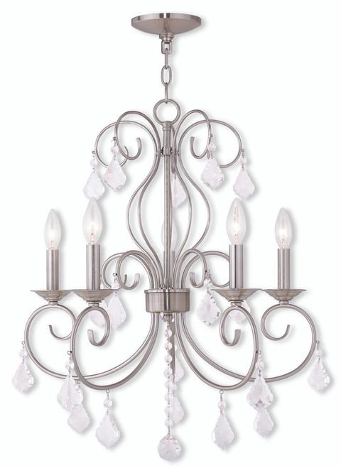 LIVEX Lighting 50765-91 Donatella Chandelier in Brushed Nickel (5 Light)