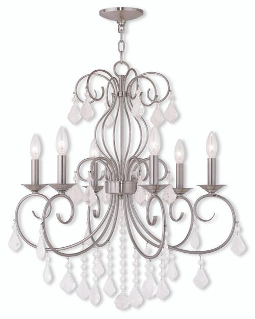 LIVEX Lighting 50766-91 Donatella Chandelier in Brushed Nickel (6 Light)