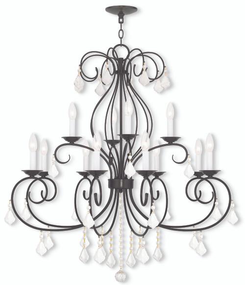 LIVEX Lighting 50770-92 Donatella Chandelier in English Bronze (12 Light)